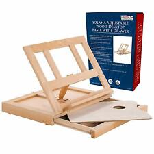 U.S. Art Supply Solana Adjustable Wood Desk Table Easel With Storage Drawer, Pre