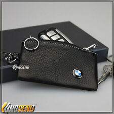deluxe BMW Genuine Cow Leather Car Key Bag Remote Cover Fob Holder Case Ring Men