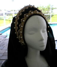 Lady Grace Tudor Renaissance French Hood Headpiece Hat 4 Dress Gown Gold Black