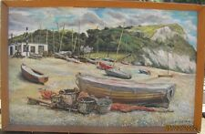 ORIGINAL OIL PAINTING SEASCAPE OF SEATON SOUTH DEVON ENGLAND BY R.L. MARTIN
