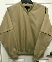 Consensus Golf Sz Medium Mens Khaki Pull Over Jacket Zip Off Sleeves V-Neck NWT
