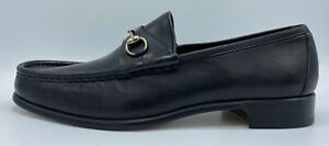 $650 Gucci Black Leather Horsebit Loafers Size US 15.5 Made In Italy