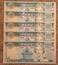 Lot Of 5 X Fiji Banknotes. Two Dollars. Unc. Queens Image. Consecutive Serials