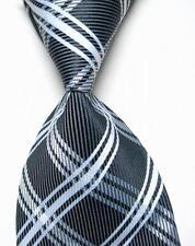 New Black White Stripe Scottish Tartan Style Mens Silk Tie UK Seller Burns Night