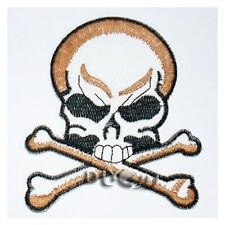 Skull Crossbones Embroidered Sew or Iron on Patch Applique Badage Biker
