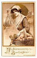Rare Golden Series Vintage Winsch Schmucker Girl & Basket Thanksgiving Postcard