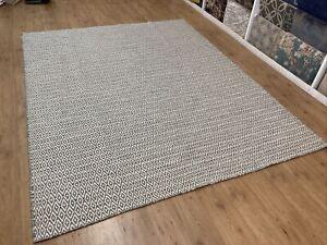 Handmade Wool Rug 8x10 Flat Weave Gray White