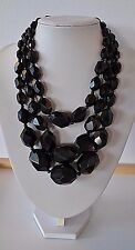 Enormous Antique Victorian hand carved Whitby Jet 3 rows Mourning Necklace