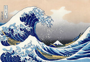 The Great Wave - Hokusai, 1829, 6x8inch (plus border) Canvas Print, Giclee