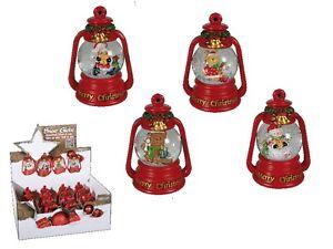 Christmas Snow Globe - Merry Christmas Figurine Santa Red Green Snow Shake