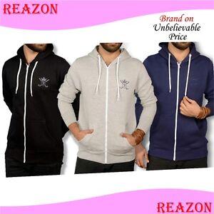New Plain Mens Fleece Zip Up Hoody Jacket Sweatshirt Hooded Hoodie Zipper Top