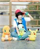 Hot!AnimeAsh Ketchum Trainer Costume Cosplay Shirt Jacket + Gloves + Hat