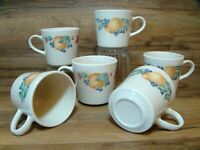 SET OF 6 - CORNING CORELLE - ABUNDANCE FRUIT - COFFEE CUPS / MUGS - EUC