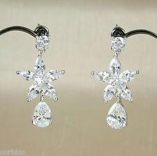 E2 Bridal Prom 18K White Gold Filled Flower Crystal Dangle Stud Earrings Giftbox