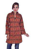 Indian Kurta Designer Women Ethnic Top Tunic om print plus size Kurti Brown