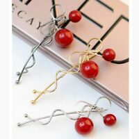 Girls Lady Accessories FASHION Sweet Bowknot Barrette Hair Clip Cherry Hairpin