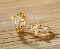Sevil 18k Gold Plated Crystal Cross Earrings Made With Swarovski Elements