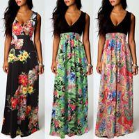 Summer Women Sexy Floral Printed V Neck Sleeveless Maxi Dress Beach Sundress
