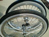 "2 NEW 20""BICYCLE RIMS TIRES & TUBES, SCHWINN STINGRAY TYPE MUSCLE, WHITE WALLS"