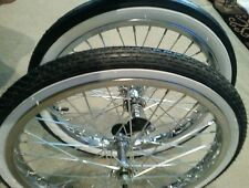 "2 NEW 20""BICYCLE RIMS TIRES & TUBES, SCHWINN STINGRAY MUSCLE TYPE, WHITE WALLS"