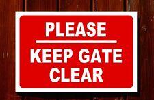 PLEASE KEEP GATE CLEAR sign 3mm foamex PVC plastic 30x20cm
