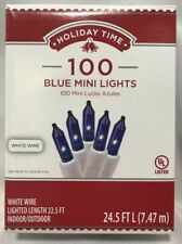 New Holiday time 100 Blue Mini Christmas lights White Wire 22.5 FT L  UL Listed