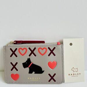 RADLEY XOXO Grey Leather Coin Purse Credit Card Holder - BNWT - RRP £39