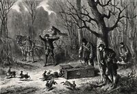 Rabbit Hares Released, Responsible Hunting, Large 1870s Antique Engraving Print