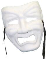 Paper Mache Mardi Gras Tragedy Mask White Theater Mask Sad Face Mask 10500