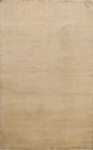 Contemporary Solid Gabbeh Oriental Area Rug Wool Hand-Knotted Foyer Carpet 5x7