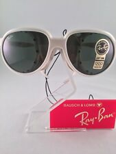 Vintage RAY-BAN CATS B&L White Glacier Sunglasses With Leather Side Shields NEW