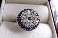 SPARKLING ROUND BLUE CUBIC ZIRCONIA EVIL EYE 925 STERLING SILVER RING SZ O 7.5