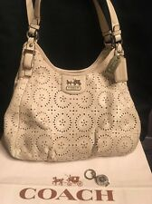 Coach Madison Perforated Leather Lace Maggie 19625 Ivory Eyelet RARE +keychain