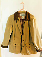 LL Bean Tan Flannel Lined Field Barn Jacket Coat Womens M Petite Cotton Canvas