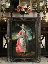 Antique Style Oil Painting Portrait 18th C. Woman in a Pink Dress Signed Framed