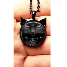 Wiccan Pendant Necklace Black Cat Witchcraft Pentagram Pentacle Jewelry