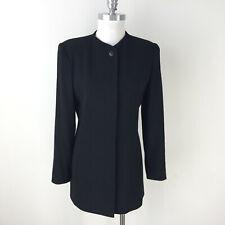 Vintage Dana Buchman 10 Black Wool Collarless Blazer Jacket Excellent crepe