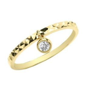Ladies 9ct Yellow Gold Patterned Band Ring With Cz Solitaire Charm Hallmarked