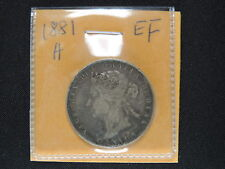 1881 H 50 Cent Coin Canada Victoria Fifty Cents .925 Silver EF Grade