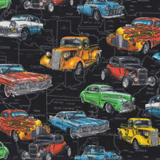 Classic Hot Rod Coupe Cars Pickup Trucks Boys Mens Quilt Fabric FQ or Metre *New