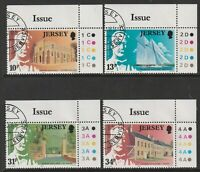 JERSEY 1985 THOMAS DAVIS COMMEMORATION SET OF ALL 4 COMMEMORATIVE STAMPS USED