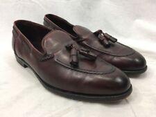 Men Leather PAUL STUART Stuarts Choice Loafers Tassle Shoe 12 D England Burgundy