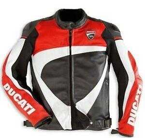 NEW Cowhide Leather Motorcycle Motorbike Racing Ride Bike Sports Men Jacket