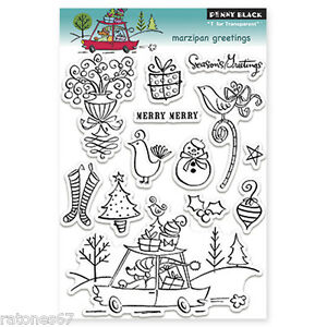 New Penny Black MARZIPAN GREETINGS Clear Stamps Christmas Holidays Merry