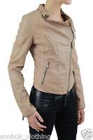 Womens Biker Jacket PU Faux Leather Effect Zipped Cropped Autumn Winter