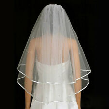 White Elbow/Long Length Wedding Bridal Veil Cathedral with Crystal Applique Edge