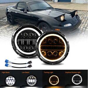 For 90-97 Mazda Miata MX5 MX-5 H6024 Halo Black LED Headlight Angel Eye Lights