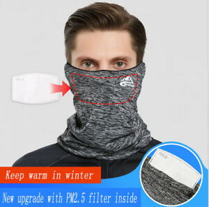 Face Mask Bandana Cover Reusable Washable Scarf Neck Gaiter with Pocket 1 Filter