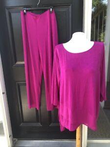 New 2pc SET Chico's Travelers Fleur Fuchsia Pink NT Pants Tunic Top 3 XL 16 NWT
