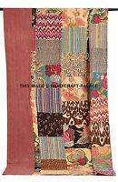 Kantha Quilt Patchwork Cotton Indian Bedspread Handmade Blanket Twin Size Crazy